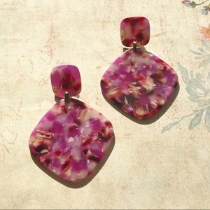Jewelry - New Large Acrylic Pink Square Dangling Earrings
